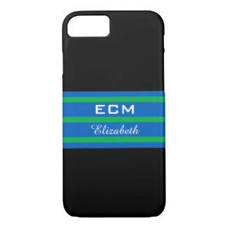 ELEGANTE iPhone 7 STREPEN CASE_ BLUE/GREEN OP iPhone 7 Hoesje