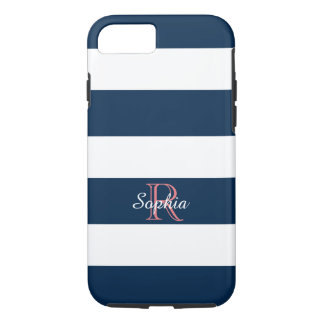 ELEGANTE iPhone 7 STREPEN CASE_CLASSIC BLUE/WHITE iPhone 7 Hoesje