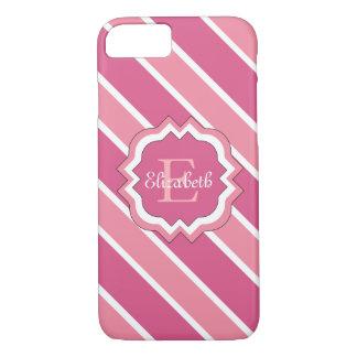 ELEGANTE iPhone 7 STREPEN CASE_PINK/WHITE iPhone 7 Hoesje