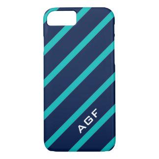 ELEGANTE iPhone 7 STREPEN CASE_TURQUOISE/NAVY iPhone 7 Hoesje