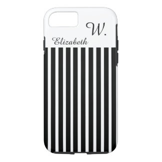 ELEGANTE iPhone 7 STREPEN CASE_WHITE/BLACK iPhone 7 Hoesje