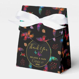 Elegante Kleurrijke Vlinders op Zwart Huwelijk Bedankdoosjes