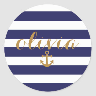 Elegante Marine en het Witte ZeevaartAnker van Ronde Sticker