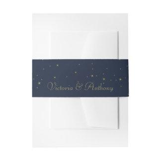 Elegante Marine & het Gouden Dalende Huwelijk van Uitnodigingen Wikkel