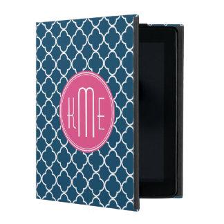 Elegante Marineblauwe Quatrefoil met Roze Monogram iPad Hoesje