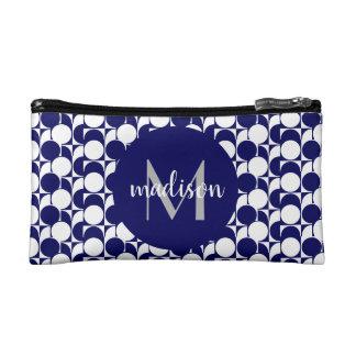 Elegante marineblauwe & witte geometrisch, met make-up bag