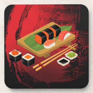 Elegante Moderne Elegante Zwarte & Rode Sushi Cook Drankjes Onderzetter
