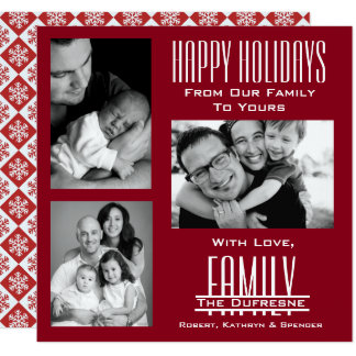 Elegante & Moderne Rode Kerstmis van Drie Foto Kaart