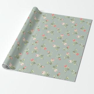 Elegante Modieuze Vintage Bloemen nam Verpakkend Inpakpapier