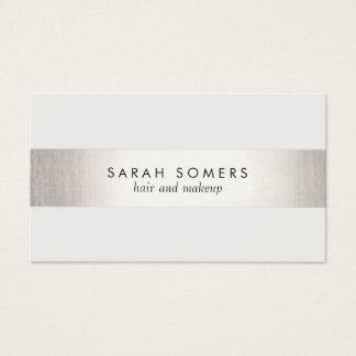 Elegante Modieuze Witte Moderne Zilveren Gestreept Visitekaartjes
