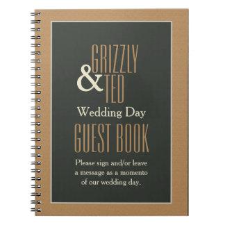 Elegante Ontworpen Bruin draagt Vrolijk Huwelijk Notitieboek