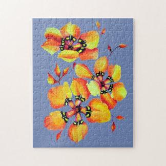 Elegante Oranje Bloemen - Blauw Grijs Puzzel
