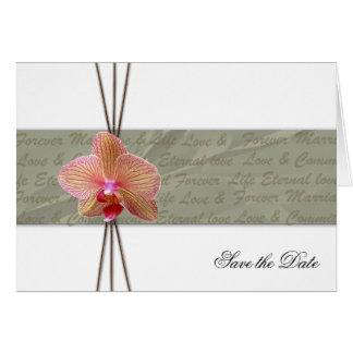 Elegante Orchidee sparen het Datum gevouwen Wenskaart