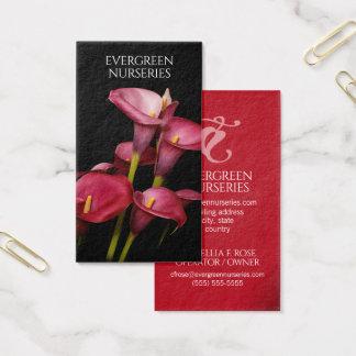 Elegante Paarse Calla Lelies Visitekaartjes