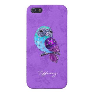 Elegante Paarse en Turkooise Met juwelen getooide iPhone 5 Case