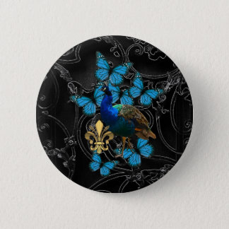 Elegante Pauw en blauwe vlinders op zwarte Ronde Button 5,7 Cm