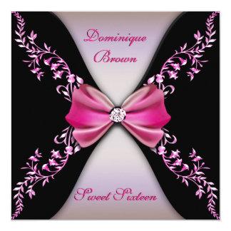Elegante Roze en de Zwarte nodigt met de Boog van 13,3x13,3 Vierkante Uitnodiging Kaart