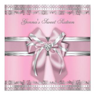 Elegante Roze en Zilveren nodigt uit 13,3x13,3 Vierkante Uitnodiging Kaart