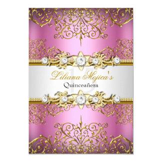 Elegante Roze Gouden Vintage Glamour Quinceanera 12,7x17,8 Uitnodiging Kaart