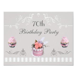 Elegante Roze & Grijze 70ste Verjaardag Cupcakes Kaart