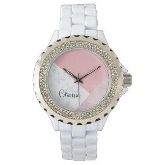 elegante roze marmeren geometrisch van de kuiken horloges