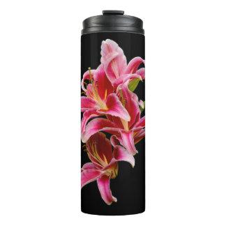 Elegante Roze Oosterse Lelies Thermosbeker