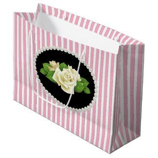 Elegante Roze Strepen, Parels & de Witte Zak van Groot Cadeauzakje