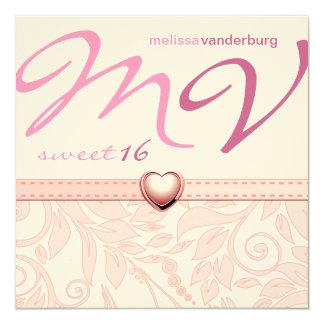 Elegante Roze Zoete Verjaardag Zestien nodigt uit 13,3x13,3 Vierkante Uitnodiging Kaart