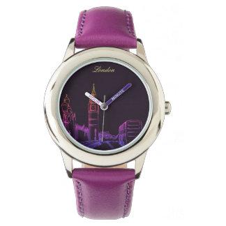 Elegante Schets van het Neon van Londen Engeland Horloge