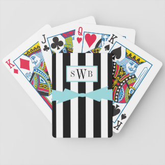 ELEGANTE SPEELBOOG CARDS_BLACK/WHITE STRIPES_AQUA PAK KAARTEN