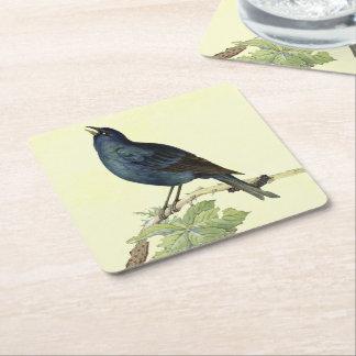 Elegante Vintage Zwarte Gele Vogel Vierkante Onderzetter