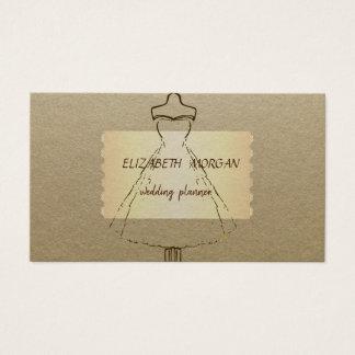 Elegante Wijnoogst, Kraftpapier, Kleding Visitekaartjes