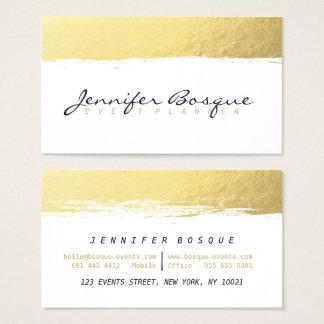 Elegante witte en gouden moderne de borstelslag visitekaartjes