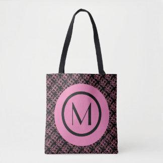 Elegante Zalm & Roze Parijse Aanvankelijk Monogram Draagtas