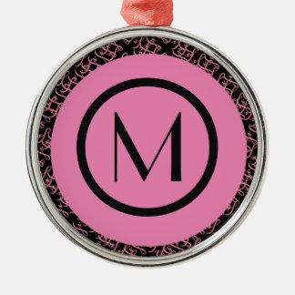 Elegante Zalm & Roze Parijse Aanvankelijk Monogram Zilverkleurig Rond Ornament