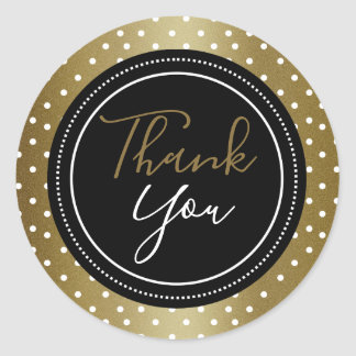 Elegante Zwart en het Goud dankt u Ronde Sticker