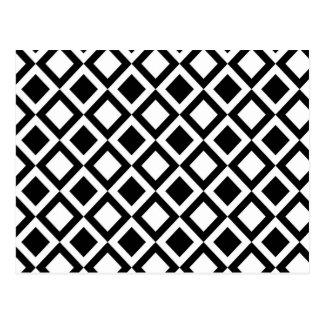 Elegante Zwart-witte Geometrische Vierkanten Briefkaart