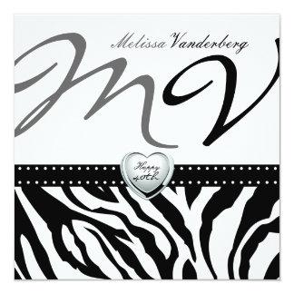 Elegante zwart-witte Gestreepte Gelukkige 40ste Bi Persoonlijke Uitnodigingen