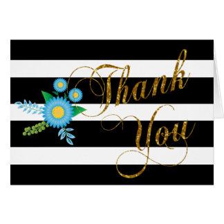 Elegante Zwart-witte Strepen met Blauwe Bloemen Briefkaarten 0