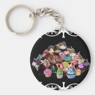 Elegante (Zwarte) Cupcakes Basic Ronde Button Sleutelhanger
