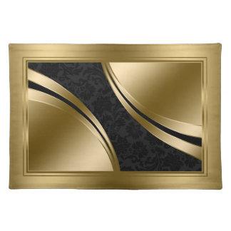 Elegante Zwarte en Gouden Damasten Placemat