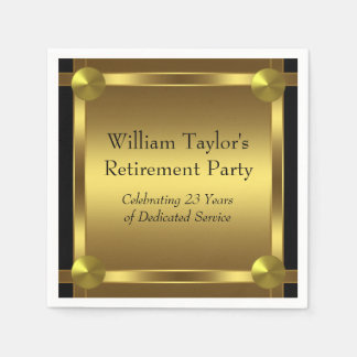 Elegante Zwarte en Gouden Pensionering Wegwerp Servetten