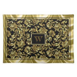 Elegante Zwarte en Metaal Gouden Damasten Placemat