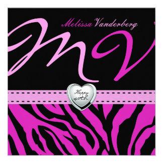 Elegante zwarte en Roze Gestreepte Gelukkige 40ste Aankondigingen