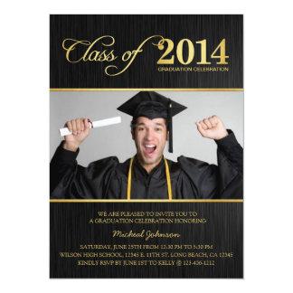 Elegante Zwarte & Gouden Klasse van de Afstuderen 13,9x19,1 Uitnodiging Kaart