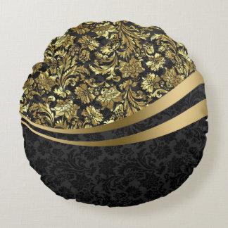 Elegante Zwarte & Gouden Vintage BloemenDamasten Rond Kussen