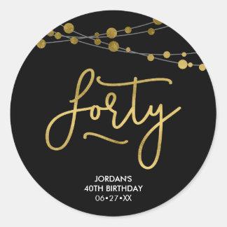 Elegante Zwarte Koorden van de Verjaardag van Ronde Sticker