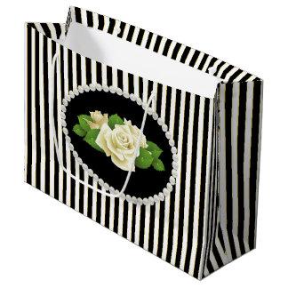 Elegante Zwarte Strepen, Parels & de Witte Zak van Groot Cadeauzakje