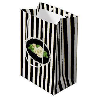 Elegante zwarte Strepen, Parels & de Witte Zak van Medium Cadeauzakje