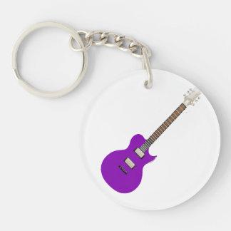 elektrische gitaar purple.png 2-Zijden ronde acryl sleutelhanger